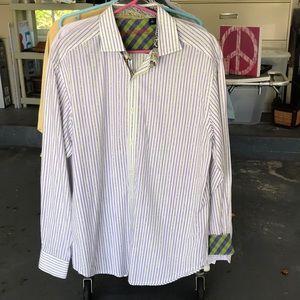 Robert Graham striped shirt contrast cuffs. SzL